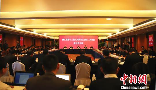 图为浙江省第十三届人民代表大会第二次会议嘉兴代表团全体会议现场。 胡小丽 摄