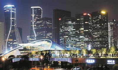 钱江新城夜景内透凸显国际范 是城市高度发达的一个象征