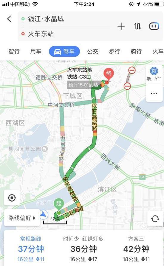 ▲图说:以往滨江水晶城出发到火车东站,一般20多分钟,下午的路况最快的需用时37分钟。