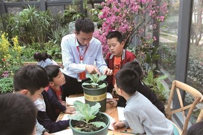 副校长胡健在蝴蝶园给学生上课 学校供图