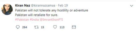 网友@Kiran Naz:巴基斯坦不会容忍任何敌意或冒犯。巴基斯坦一定会报复。