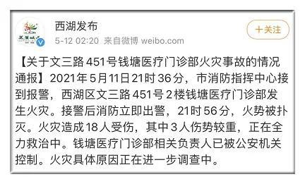 杭州文三路一门诊部发生火灾 相关负责人已被控制