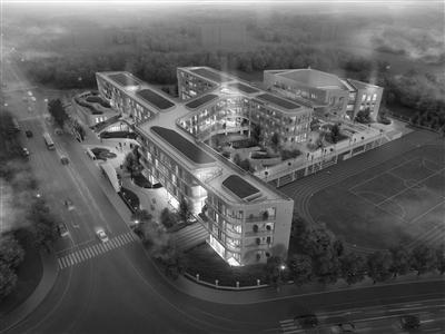 今年9月投入使用的长寿桥小学新校区效果图