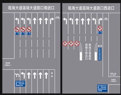 温瑞大道与瓯海大道路口交通组织措施变化示意图 (警方供图)