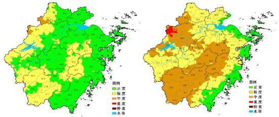 浙江省茶叶霜冻害预报等级空间分布图。浙江天气网提供