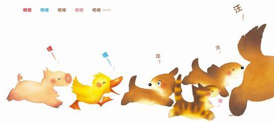 后来,队伍壮大了,小鸭子、小猪也加入进来。