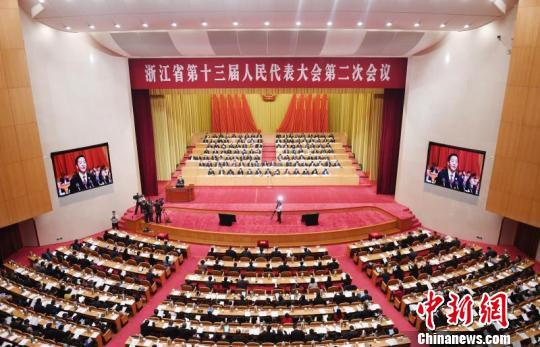 图为:浙江省第十三届人民代表大会第二次会议现场 王刚 摄