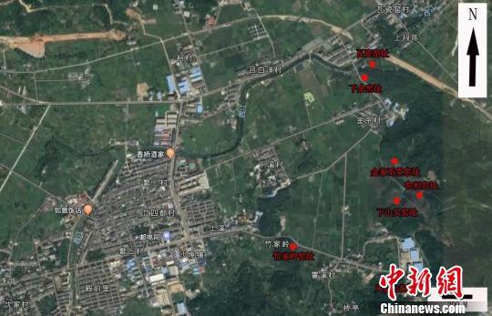图为:沙埠青瓷窑址分布示意图 黄岩区委宣传部提供