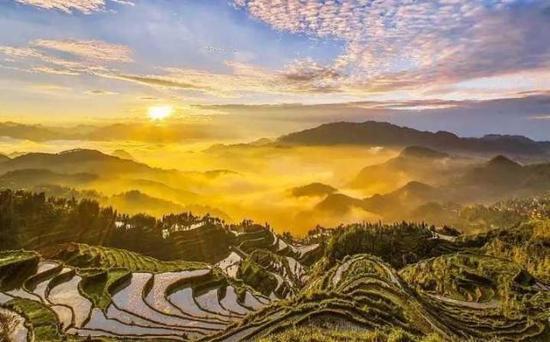 楠溪江畔的茗岙梯田,藏在四周海拔800多米高的大山之中。
