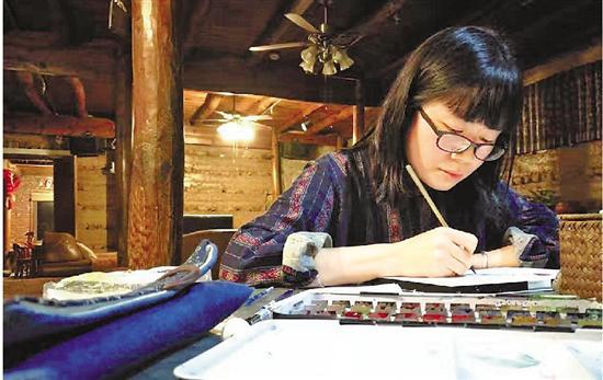 喜欢画画的数学老师郑赛娇。