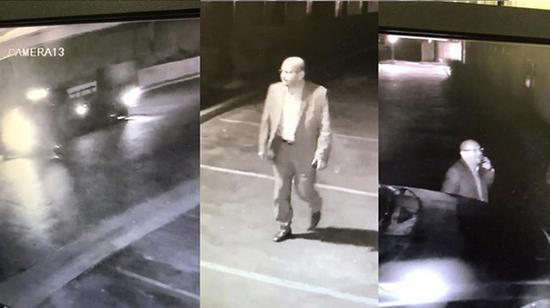 监视器拍到里维拉在酒店停车场逗留