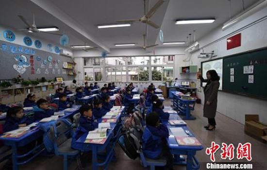 8点40学生已经开始了第一节课程。 本文图均为 中新网 图