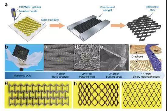 高可拉伸全碳气凝胶弹性体由多级协同组装方法制得