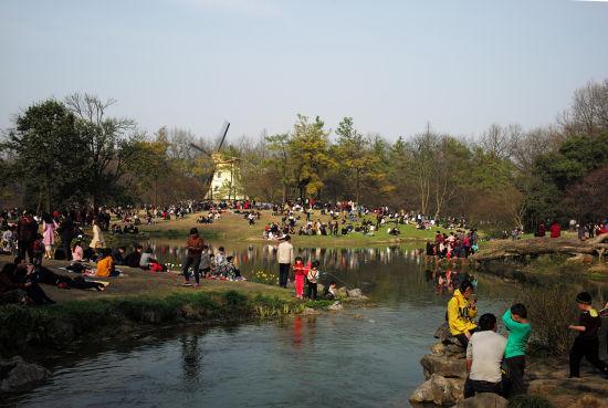 图为:杭州太子湾公园游人如织。 颜石斌(通讯员) 摄