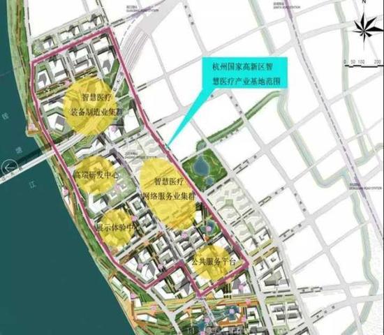 杭州国家高新区智慧医疗产业基地范围示意图