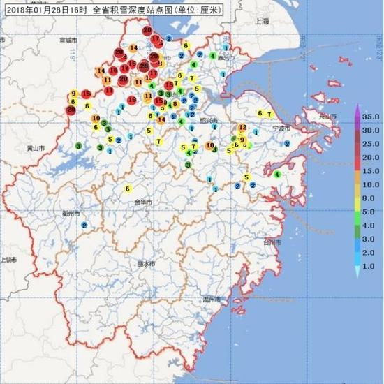 ▲图1 1月28日16时积雪深度分布