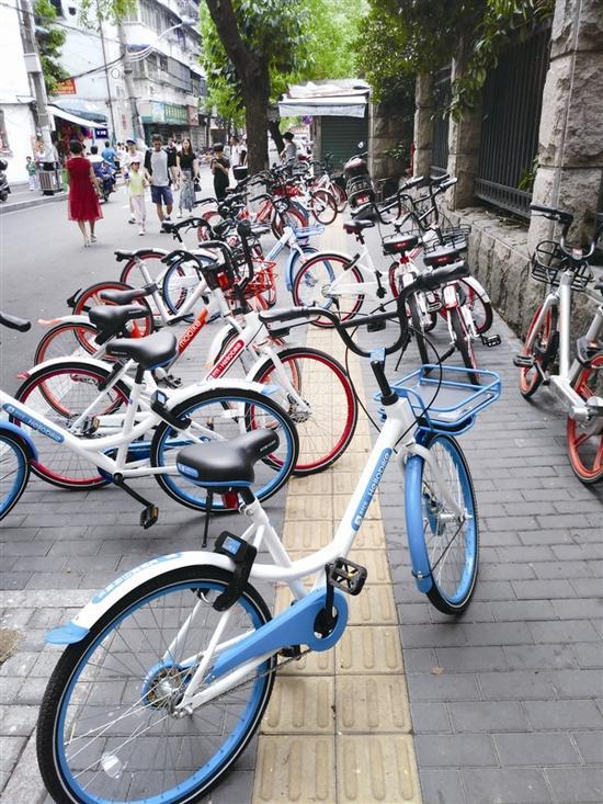 无序停放的共享单车占用了盲道 记者戴玮去年8月3日摄于温医大附二院兴墅路侧门口