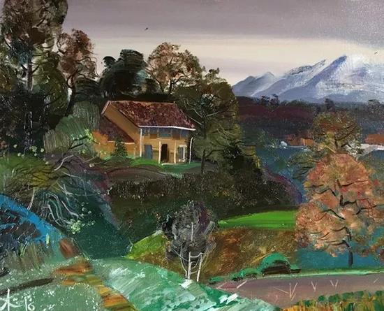 俄罗斯画家来沿坑岭头村创作的画