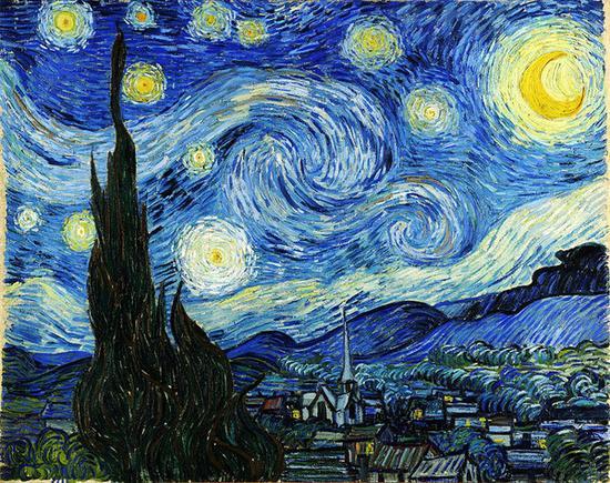 梵高最为著名的风景油画作品《星月夜》