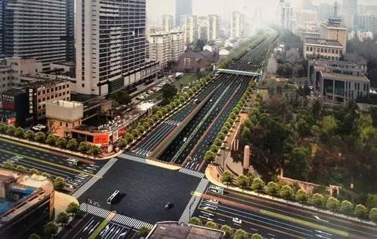 教工路保俶路口效果图,将来这里将是地下通道入口处,这里还将增设一座过街天桥。图来源杭州网