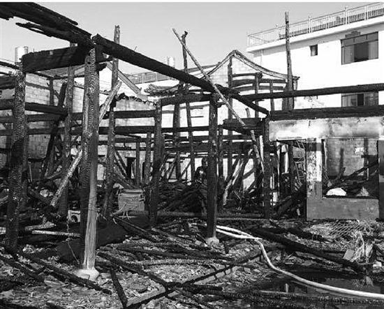 埠头镇埠头村火灾现场。