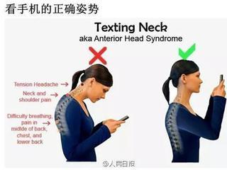 医生说低头玩手机=脖子挂了50斤的重物
