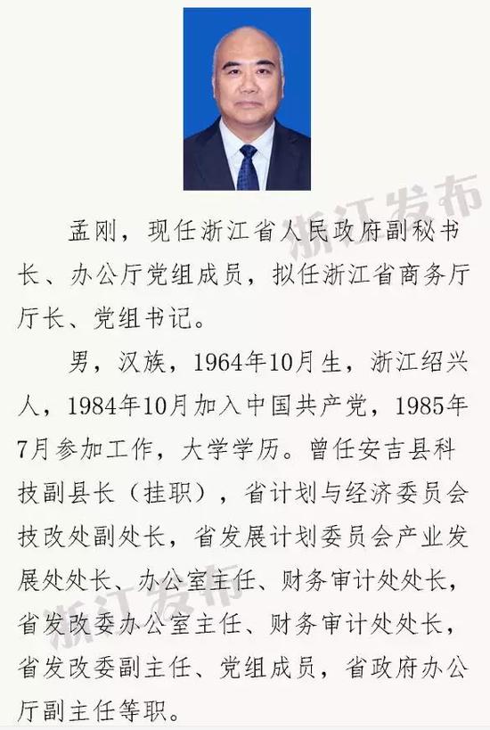 浙江拟提拔任用省管领导干部 孟刚拟任浙江省商务厅长(图)