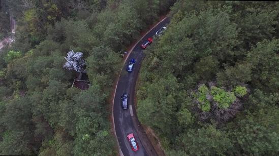 特斯拉车队进入白云山森林公园