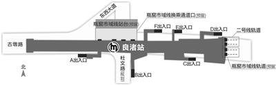 地铁良渚站示意图