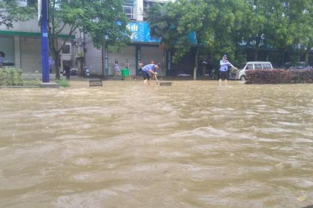 丽水遂昌暴雨致多路段严重积水 已漫过膝盖(图)