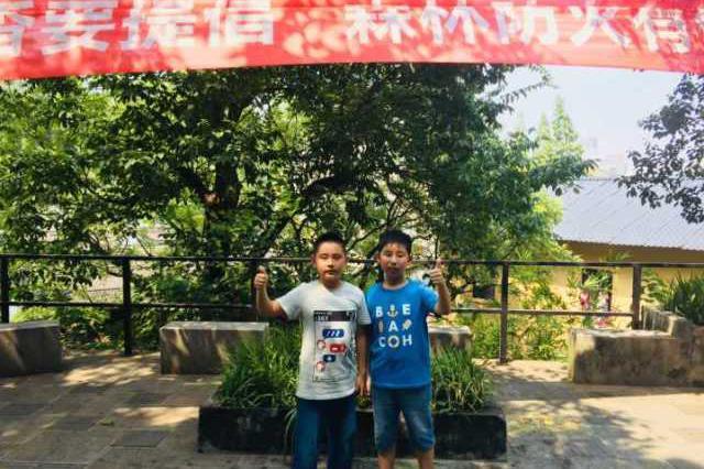 杭州一绿化带冒烟 两位小学生用消防水桶扑救(图)