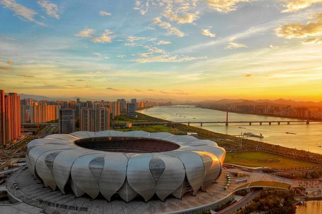 鸟瞰杭州奥体中心 亚运会即将进入杭州时间