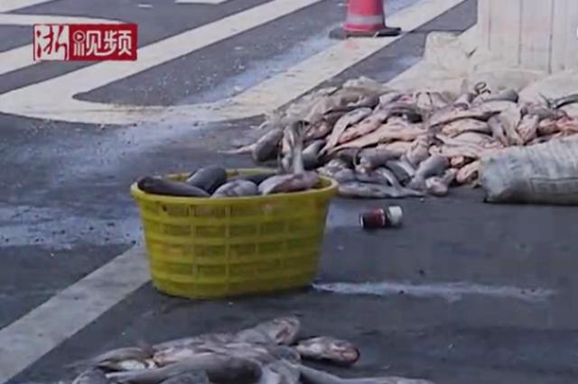 货车浙江高速炸胎翻车 千斤鲜鱼撒落在地