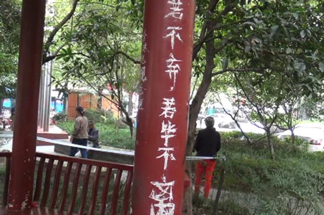 平文涛刚刚被刑拘 杭州市中心一凉亭又被人刻满字