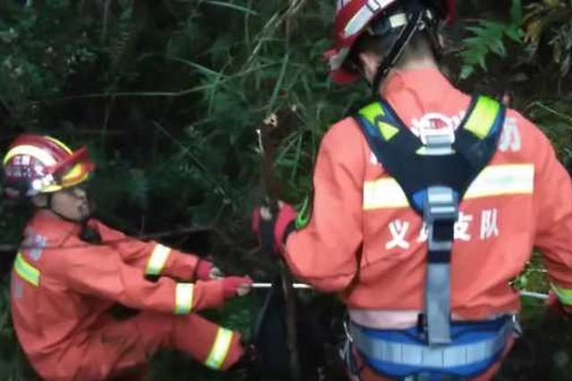 金华男子失足坠入40米深废弃矿洞 消防救援1个多小时