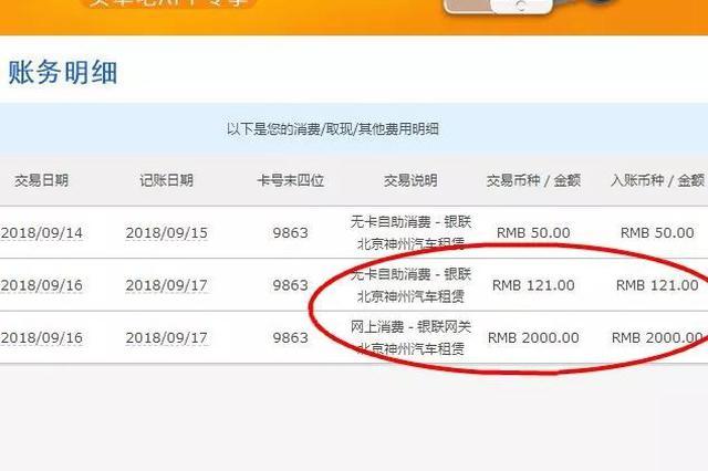 宁波男子神州租车被多刷2000元 还多出100元利息