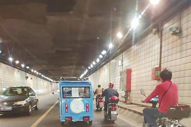 电动车三轮车飞驰 宁波甬江隧道通行禁令形同虚设