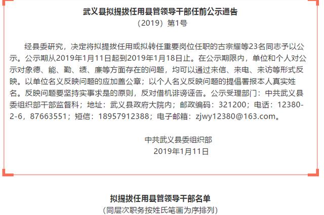 金华武义县拟提拔任用县管领导干部任前公示通告