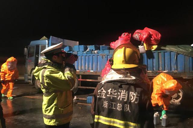 浙江一高速上200多斤硫酸泄漏 各部门迅速处置
