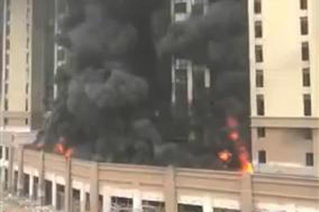 杭州1新开盘的小区起火浓烟滚滚 工人自行扑灭大火