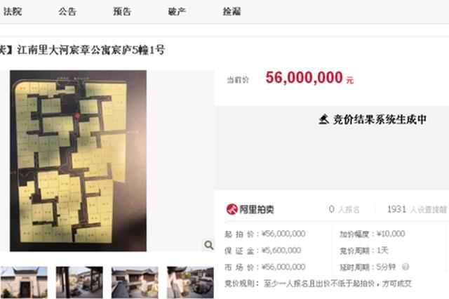 杭州别墅拍卖引5万人围观却遭流拍 二次拍卖或降千万