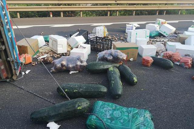 浙江高速上万元蔬菜撒一地瞬间成菜场 众人合力收菜