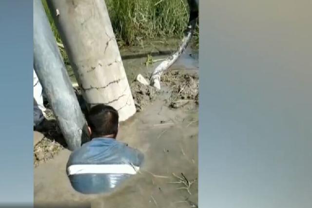 泥水里突然冒出两个人 浙江台州电力抢修哥成泥人
