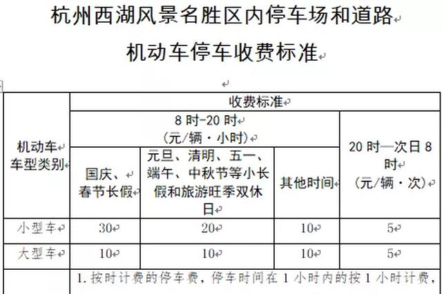 中秋节杭州西湖景区停车8时至20时停车费20元每小时