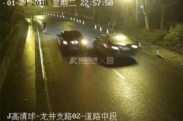 杭景区道路上有人故意开慢车 趁司机着急的时候碰瓷