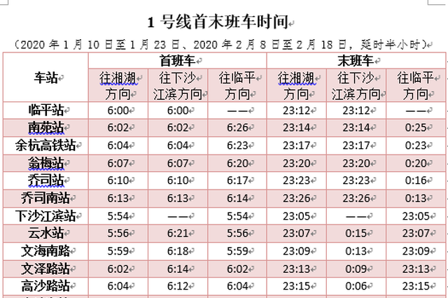 杭州地铁运营时间今天开始有调整 时间表赶紧收好