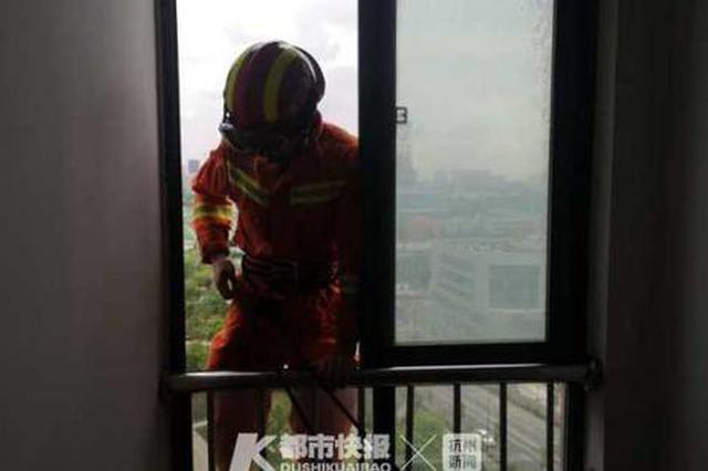 浙1小孩被反锁家中 消防员化身蜘蛛侠从14楼翻窗救人