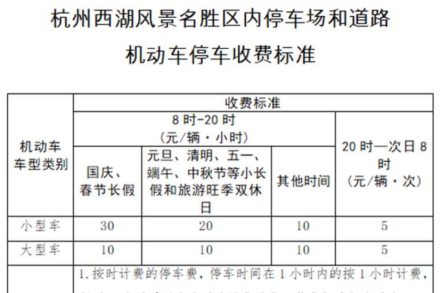 注意了 国庆中秋黄金周西湖景区停车收费价格有调整