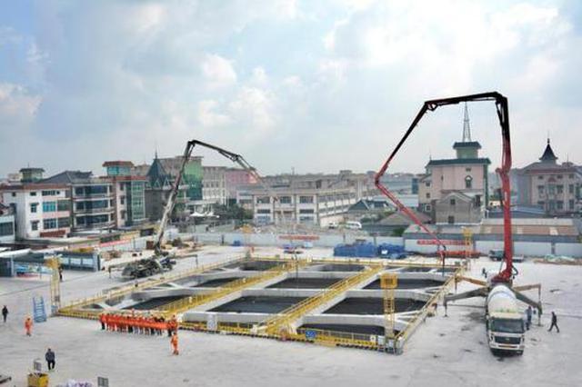 杭绍甬与地铁1号线交叉工程反压箱顶板安全浇筑完成