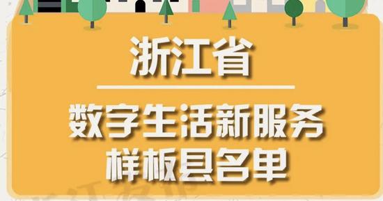 浙江数字生活新服务样板县名单发布 激励资金发放